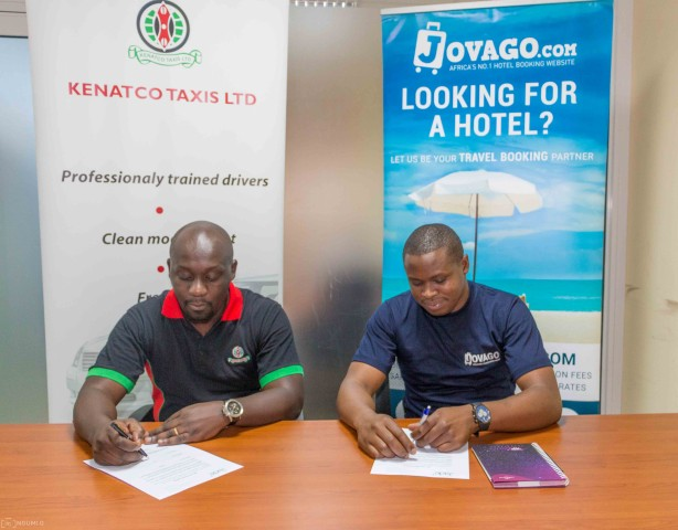 Cyrus Onyiego, Country Manager for Jovago Kenya with Ken Anam-Business Development Manager for KENATCO Taxi Services