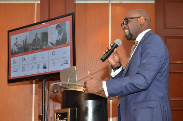 Microsoft Kenya Country Manager, Kunle Awokisa, during launch of Office 2016 in Nairobi.