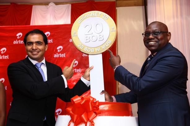 Airtel Kenya CEO Adil El Youssefi  and Airtel Kenya  Marketing Director Levi Nyakundi during the UnlimiNet 20  launch.