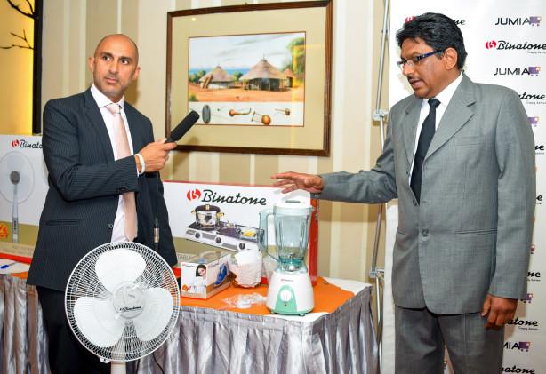 Sunil Lalvani – CEO, Binatone, Sameer Bhargava (Binatone Head of Sales East Africa) explain to journalists