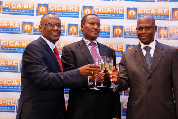 Insurance Regulatory Authority CEO Sammy Makove (centre), CICA-RE Managing Director Jean Baptiste N, Kouame (right) and CICA-RE Nairobi Regional Head Stanley Kimbio