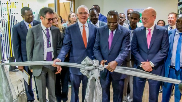 CS Health cuts the ribbon during the official inaguration of the Healthcare tarining Centre in Nairobi